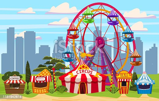 Amusement park, a cityscape with a circus, carousels, carnival, attraction and entertainment