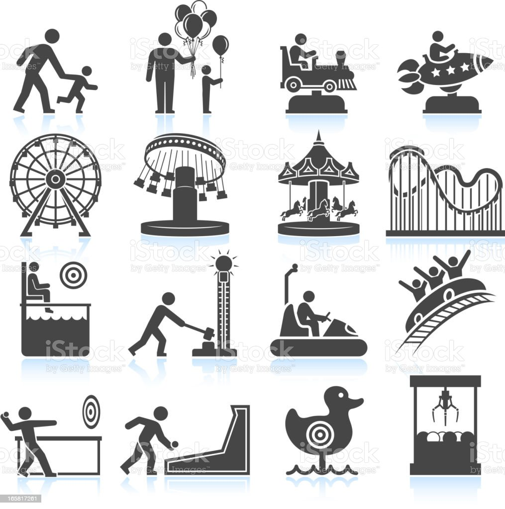 amusement park and Carnival black & white vector icon set