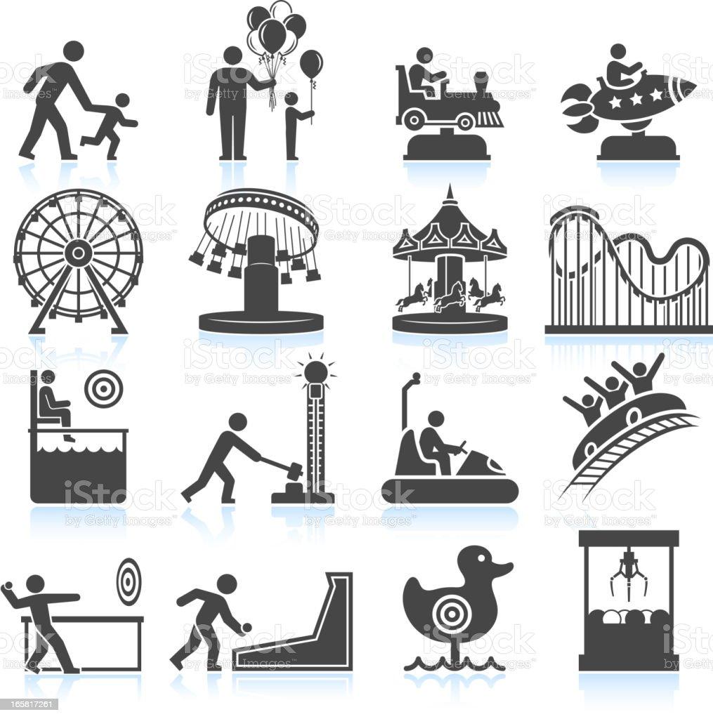Parque de diversiones & de carnaval negro y blanco vector icono conjunto - ilustración de arte vectorial