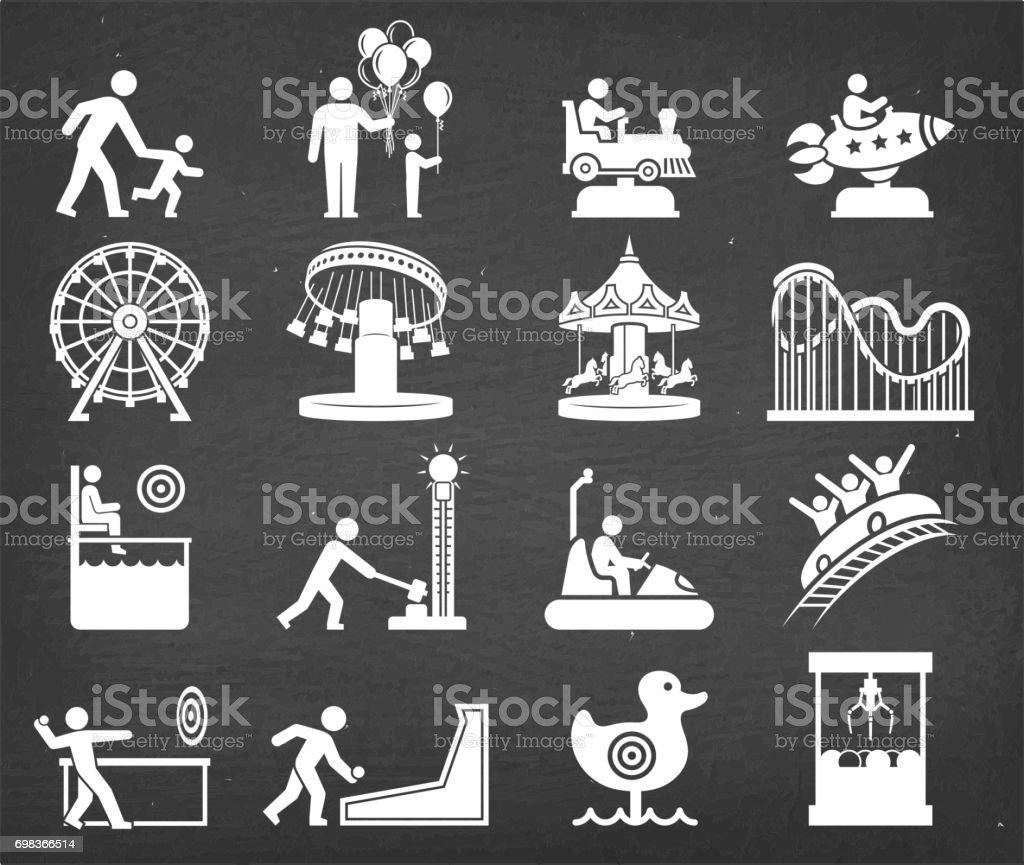 Parc d'attractions et icône de vecteur de carnaval mettre le tableau de craie - Illustration vectorielle