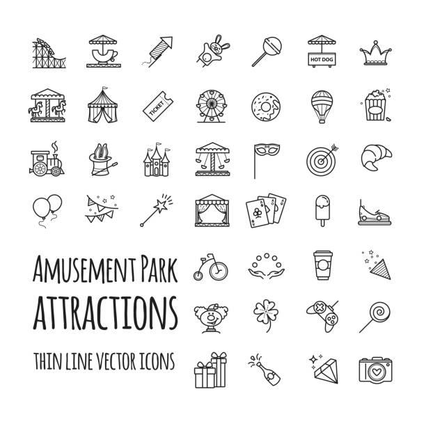 Amusement park, attraction vector icons set vector art illustration