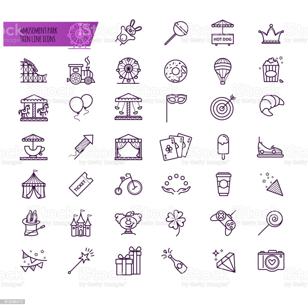 Amusement park, attraction vector icons vector art illustration