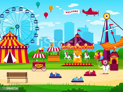 Amusement park. Attractions entertainment joyful amuse carnival fun circus carousel kids game funfair landscape flat vector background