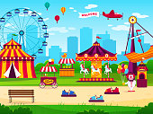 Amusement park. Attractions entertainment joyful amuse carnival fun circus carousel game funfair landscape background