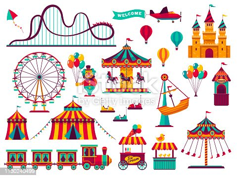 Amusement park attractions set. Carnival amuse kids carousels games fairground attraction play rollercoaster, flat vector illustration