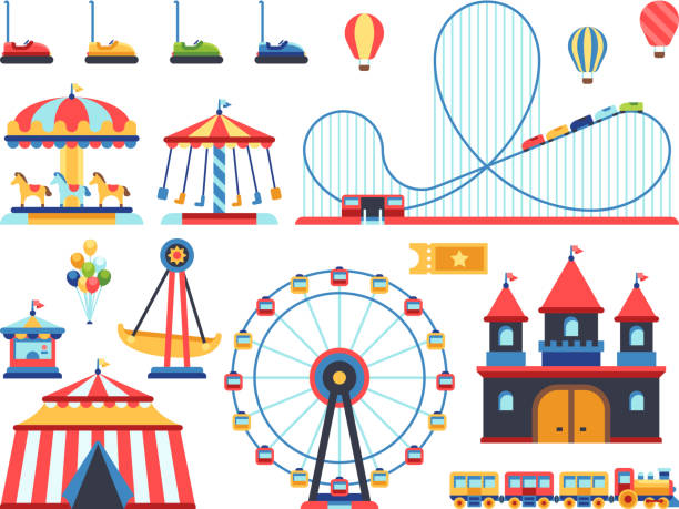 illustrazioni stock, clip art, cartoni animati e icone di tendenza di amusement park attractions. train, ferris wheel, carousel and roller coaster flat vector icons - luna park