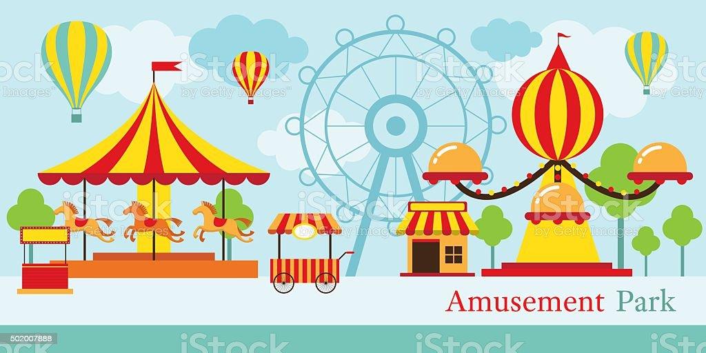 Amusement Park, Carnival, Fun Fair vector art illustration