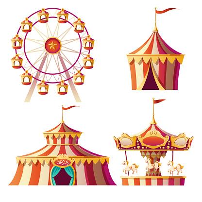 Amusement park, carnival or festive fair cartoon