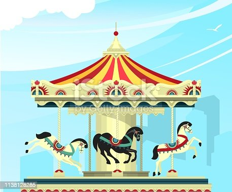 Vector illustration, Carousel with deer at an entertainment fair and circus performances of carnival shows against the sky