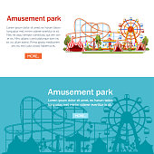 Amusement park. Cartoon style design. Roller coaster, carousel, pirate ship and red tents. Vector illustration on white background. Entertainment concept. Web site page and mobile app design.