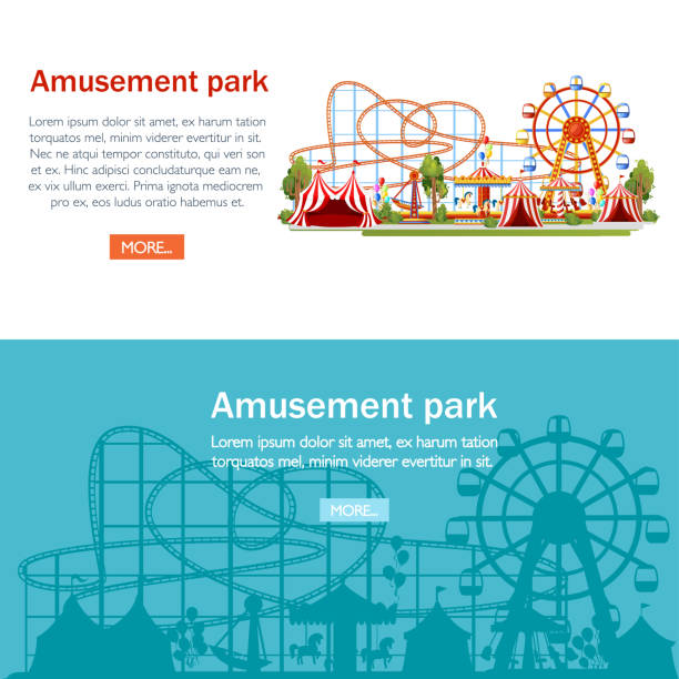 amusement park. cartoon style design. roller coaster, carousel, pirate ship and red tents. vector illustration on white background. entertainment concept. web site page and mobile app design - roller coaster stock illustrations