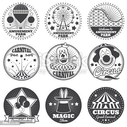 Amusement park, circus and carnival vector vintage emblems and labels. Festival and circus badge, illustration of entertainment and carnival show