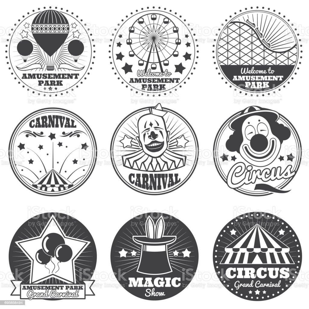 Vergnügungspark, Zirkus und Karneval Vektor Vintage Embleme und Etiketten – Vektorgrafik