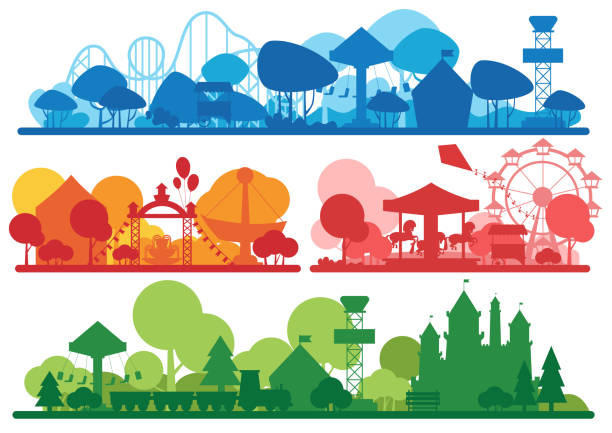 illustrazioni stock, clip art, cartoni animati e icone di tendenza di amusement park colorful silhouette horizontal banner set. - luna park