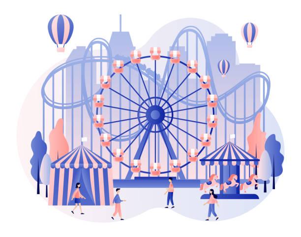 stockillustraties, clipart, cartoons en iconen met pretpark concept. kleine mensen met carrousels, achtbaan, lucht ballon, circus, fun fair en carnaval. moderne platte cartoon stijl. vector illustratie - mini amusementpark