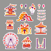 Amusement park flat elements sticker with carousels, waterslides, balloons, flags, inflatable trampoline castle, ferris wheel, mobile kiosk with sweets, catapult on gray background. Set family attractions for invitational cards, banners.