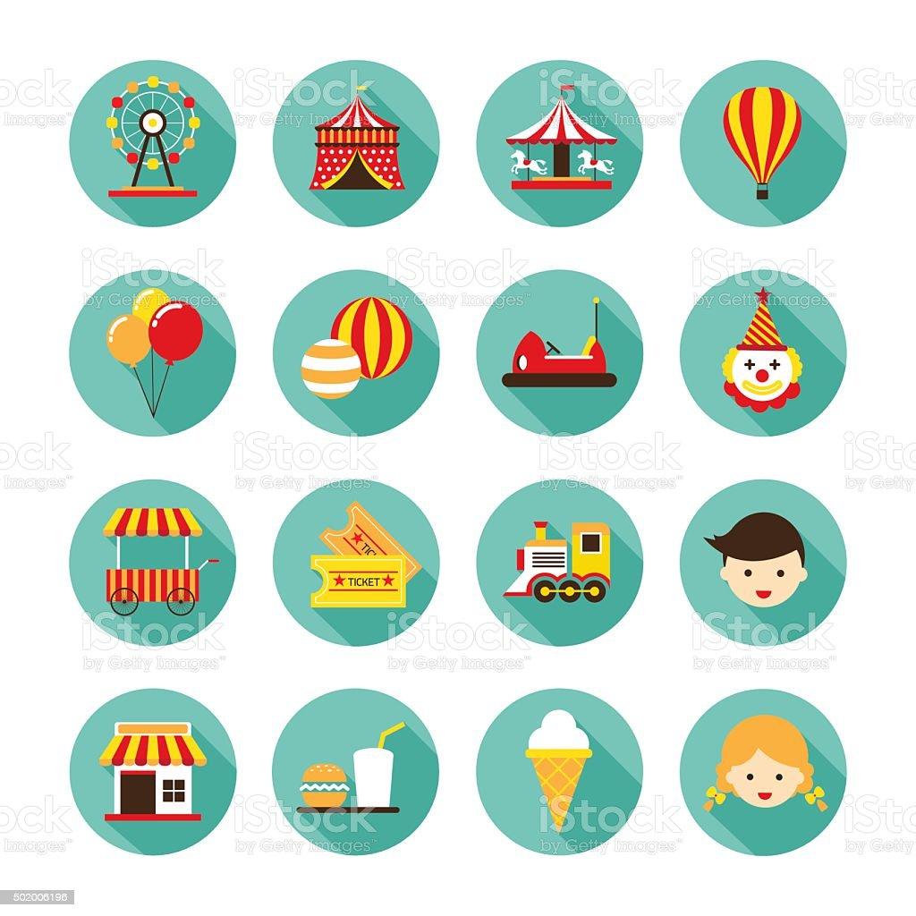 Parque de diversiones conjunto de iconos plana - ilustración de arte vectorial
