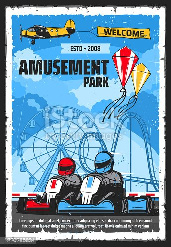 Amusement park rides and funfair carnival attractions, vector poster. Kites show and karting rides, rollercoaster and ferris wheel for kids and adults, amusement park banner on airplane in sky
