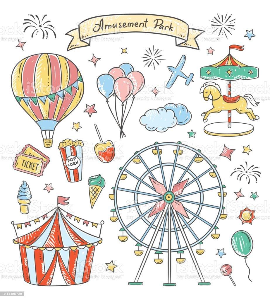遊園地手描き下ろしイラストですビンテージの公正なベクトルの要素