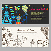 Amusement park hand drawn vector illustration. Colorful sketches ferris wheel, carousel, ice cream, air balloon for flyer, web banner, ticket