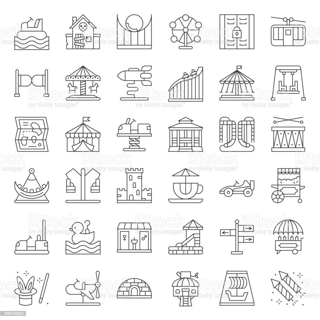 Parque de atracciones icono moneda operado paseo, línea delgada - ilustración de arte vectorial