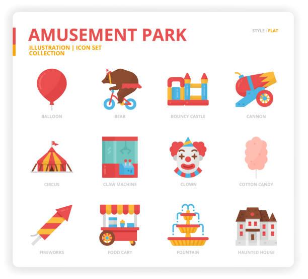 Amusement Park icon set Amusement Park icon set web design, book, magazine, poster, ads, app, etc. animal costume stock illustrations