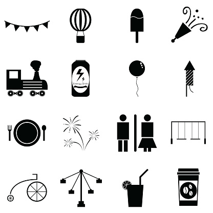 amusement park icon set