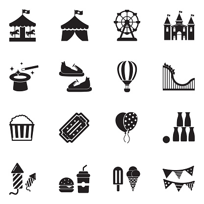 Amusement Park Icons. Black Flat Design. Vector Illustration.