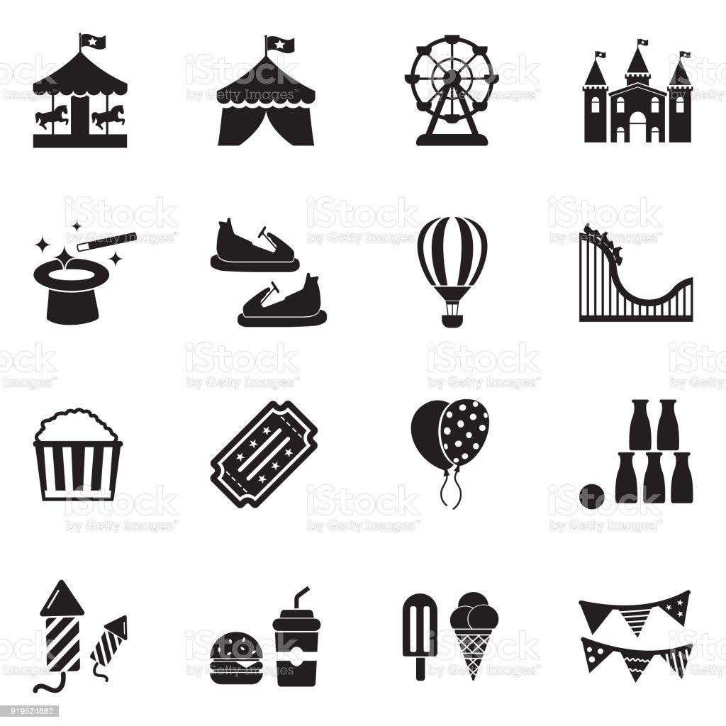 Iconos del parque de atracciones. Diseño plano negro. Ilustración de vector. - ilustración de arte vectorial