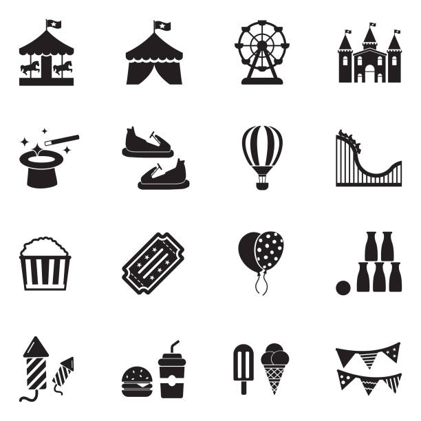 amusement park icons. black flat design. vector illustration. - roller coaster stock illustrations