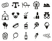 Amusement Park Icons Black & White Set BigThis image is a illustration and can be scaled to any size without loss of resolution.