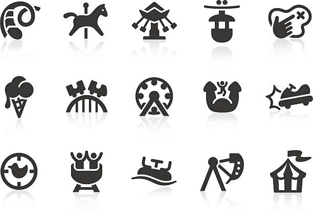 amusement park icons - roller coaster stock illustrations