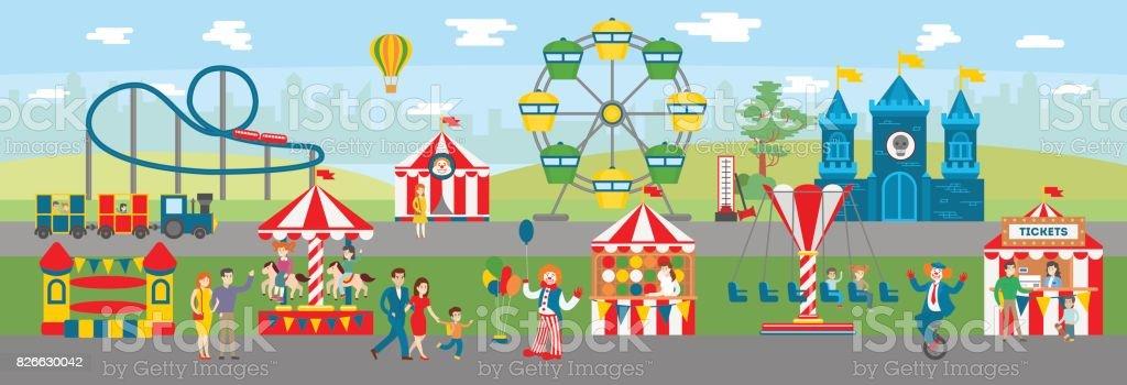 Amusement park illustration. vector art illustration
