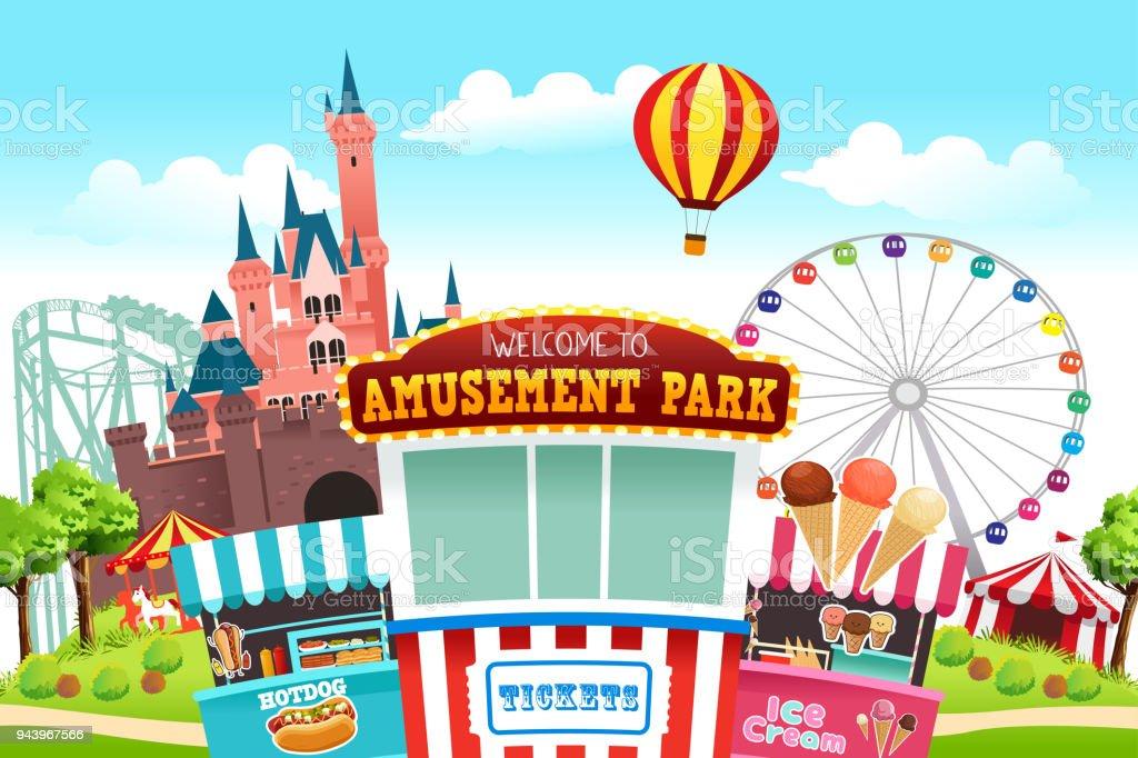 Amusement Park Illustration vector art illustration