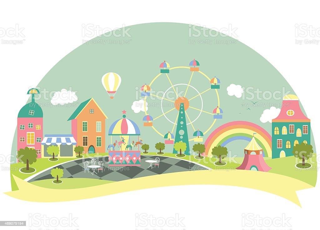 Amusement park in flat style vector art illustration