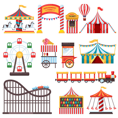 Amusement park isolated icons. Vector flat illustration of circus tent, carousel, ferris wheel. Carnival design elements