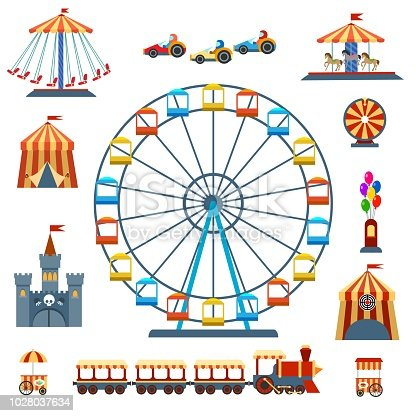 Amusement park isolated entertainments. Wheels rides and amusement ferry, carnival tent and kids recreation isolated on white, vector illustration