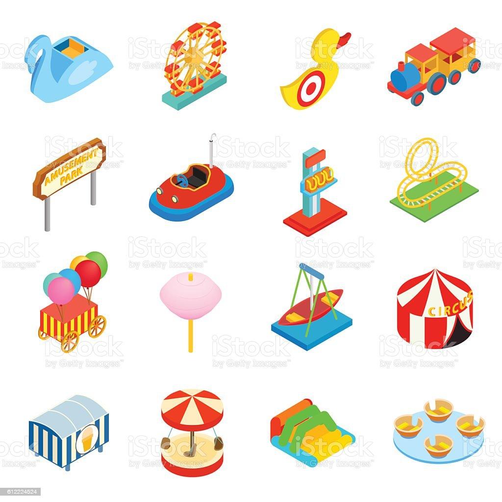 Amusement park isometric 3d icons - ilustración de arte vectorial