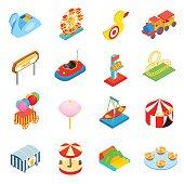 Amusement park isometric 3d icons