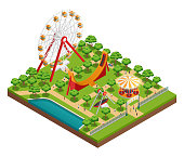 Amusement park isometric composition with carousel and ferris wheel symbols vector illustration