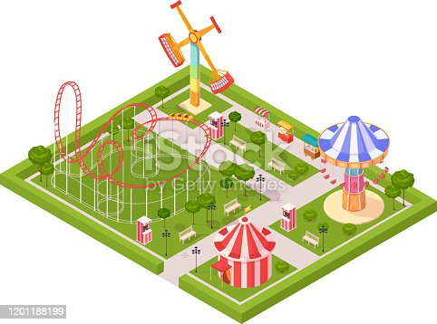Amusement park design composition with circus tent roller coaster carousel giant swing cartoon isometric icons vector illustration