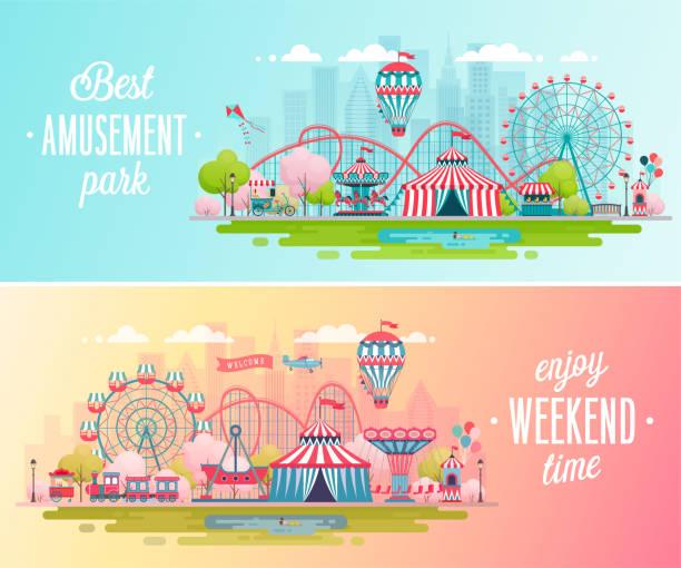 ilustraciones, imágenes clip art, dibujos animados e iconos de stock de banners de paisaje de parque de atracciones con carruseles, montañas rusas y globo. - roller coaster