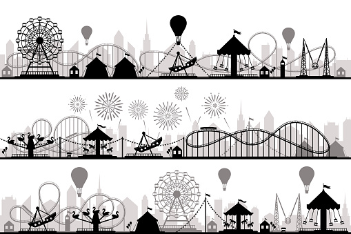 Amusement park landscape. Carnival roller coasters silhouettes, festive carousel and ferris wheel parks. Vacation amusements, carnival entrance or invitation flyer vector silhouette illustration