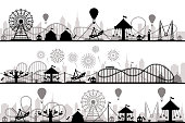 Amusement park landscape. Carnival roller coasters silhouettes, festive carousel and ferris wheel parks. Vacation amusements, carnival entrance or invitation flyer vector silhouette illustration