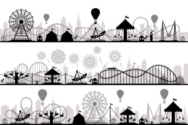 illustrazioni stock, clip art, cartoni animati e icone di tendenza di amusement park landscape. carnival roller coasters silhouettes, festive carousel and ferris wheel parks vector silhouette illustration - luna park