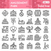 Amusement park line icon set, children entertainment symbols collection or sketches. Playground linear style signs for web and app. Vector graphics isolated on white background