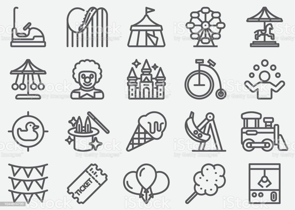 Amusement Park Line Icons vector art illustration