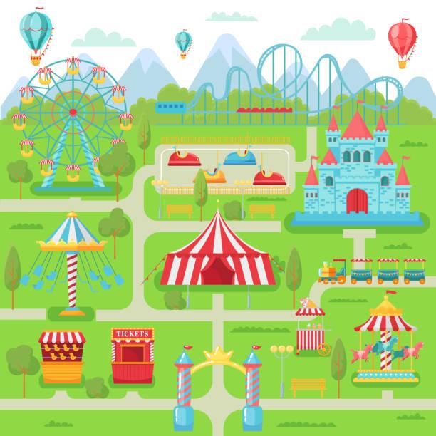 ilustraciones, imágenes clip art, dibujos animados e iconos de stock de mapa del parque de diversiones. atracciones del festival de entretenimiento familiar carrusel, montaña rusa y la ilustración vectorial de la noria - roller coaster