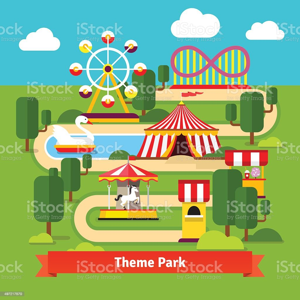 Amusement park map, ferris wheel, roller coaster