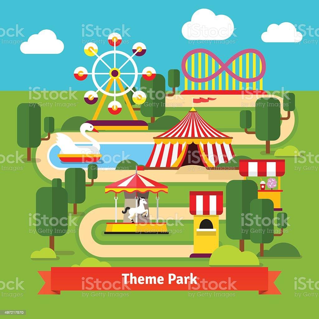 Amusement park map, ferris wheel, roller coaster vector art illustration